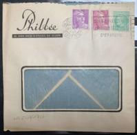 1949 DIJON (CÔTE-D'OR) MARIANNE GANDON S/ LETTRE PAIN D'EPICE PHILBÉE CACHET OBLITERATION AFFRANCHISSEMENT TRICOLORE - Marcophilie (Lettres)