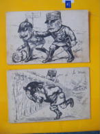 Cpa Militaria ( 2 ) Humoristiques Foch Kaiser Prusse - Humoristiques
