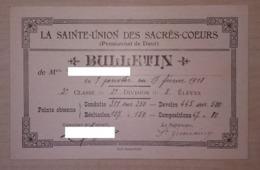 Bulletin Scolaire De La Saint Union à Dour 1918 - Diplômes & Bulletins Scolaires