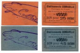 1914 - 1918 // HERAULT // BEDARIEUX // ETABLISSEMENTS DONNADILLE // Bon De Quinze Et Vingt Cinq Centimes - Bons & Nécessité
