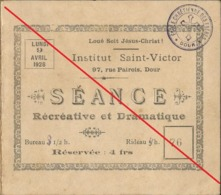 Dour 1928 Séance Récréative Concert - Pièce De Théâtre - Programmes