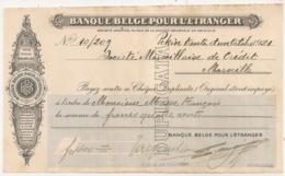 1921 CHEQUE BANQUE BELGE POUR L'ETRANGER / AGENCE DE PEKIN CHINE  C15 1 - Cheques & Traverler's Cheques