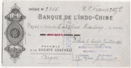 1924 BANQUE DE L'INDO-CHINE Payable à SOCIETE GENERALE    AGENCE DE PEKIN CHINE  Indochine C15 3 - Cheques & Traverler's Cheques