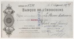 1924 BANQUE DE L'INDOCHINE Payable à BANQUE DE L'INDO-CHINE      AGENCE DE PEKIN CHINE  C15 5 - Cheques & Traverler's Cheques