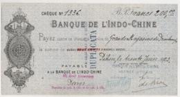 1923 BANQUE DE L'INDO-CHINE Payable à INDO-CHINE PARIS  AGENCE DE PEKIN CHINE Indochine  C15 2 - Cheques & Traverler's Cheques