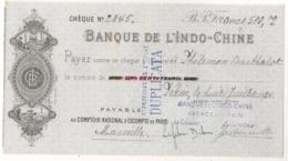 1924 BANQUE DE L'INDO-CHINE Payable à COMPTOIR NATIONAL D'ESCOMPTE DE PARIS     AGENCE DE PEKIN CHINE  C15 4 - Cheques & Traverler's Cheques