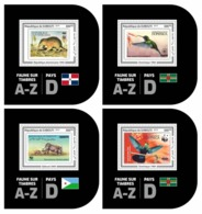 DJIBOUTI 2019 - Fauna On Stamps D, 4 S/S. Official Issue. - Errori Sui Francobolli