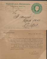 J) 1917 MEXICO, MEXICAN REPUBLIC, 2 CENTS GREEN, POSTCARD, POSTAL STATIONARY, CIRCULATED COVER, FROM MEXICO - Mexico