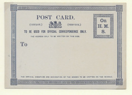 Ceylon QV Official Postcard H&G 2b - Ceylan (...-1947)