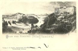 """5140 """" GRUSS VOM RHEINFALL (SCHAFFHAUSEN) """"-CART. POSTALE ORIG. SPEDITA 1902 - Saluti Da.../ Gruss Aus..."""
