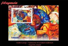 CUBA MINT. 2009-16 TURISMO. PINTURA CUBANA CONTEMPORÁNEA. HOJA BLOQUE - Unused Stamps