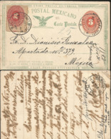 J) 1892 MEXICO, MEXICAN POSTAL SERVICE, EAGLE, 3 CENTS, 2 CENTS, NUMERAL, POSTAL STATIONARY, POSTCARD, CIRCULATED COVER, - Mexico