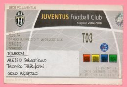 Biglietto Ingresso Stadio Juventus Reggina 2007 - Tickets - Vouchers