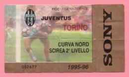 Biglietto Ingresso Stadio  Juventus Torino 1995/96 - Biglietti D'ingresso