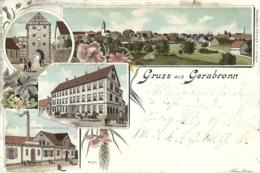"5141 "" GRUSS AUS GERABRONN ""4 VEDUTE-CART. POSTALE ORIG. SPEDITA 1898 - Saluti Da.../ Gruss Aus..."