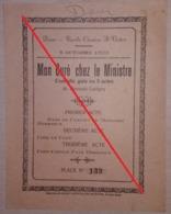 Ticket Programme Pièce De Théâtre « Mon Curé Chez Le Ministre » Dour 1928 (Imprimerie Alfred Capouillez Boussu-Bois) - Programmes