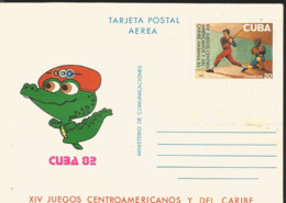 J) 1982 MEXICO, BASEBALL, XIV CENTRAL AMERICAN AND CARIBBEAN GAMES, CROCODILE, POSTCARD - Mexico