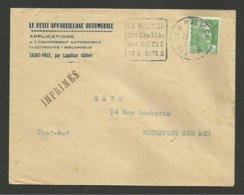 """ALLIER / Enveloppe """" Petit Appareillage Automobile """" à SAINT PRIX / Daguin LAPALISSE 1951 - Automobil"""