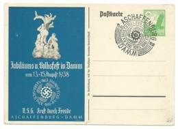 DR Privat-Ganzsache Jubiläums U. Volksfest Damm 1939 Sonderstempel Aschaffenburg - Alemania