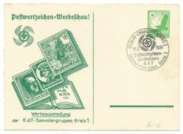 DR Privat-Ganzsache Postwertzeichen-Werbeschau 1939 Sonderstempel Berlin - Alemania