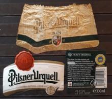 3 ETIQUETAS CERVEZA PILSNER URQUELL. - Cerveza