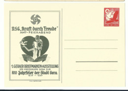DR Privat-Ganzsache Kraft Durrch Freude Gera 1937 Ungelaufen - Deutschland