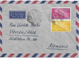 SPAIN 1955 COVER SENT TO VIERSEN 2 STAMPS, COVER USED - 1951-60 Briefe U. Dokumente