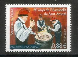Escudella De Sant Antoni.  Plat Typique De L'Andorre, Nouveau Timbre 2019, Neuf ** - Französisch Andorra