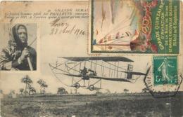 GRANDE SEMAINE DE L'AVIATION - Le Biplan Sommer Piloté Par Paillette (carte Avec Vignette Baie De Seine). - Meetings