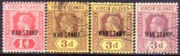 BRITISH VIRGIN ISLANDS 1916-19 SG 78c-79b Compl.set Incl.all Colour Vars For 3d CV £91+ - British Virgin Islands