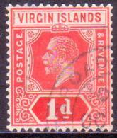 BRITISH VIRGIN ISLANDS 1921 SG 81 1d Wmk Mult.Script CA CV £35 - British Virgin Islands