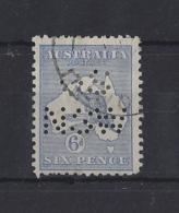 """AUSTRALIA.."""" NEW SOUTH WALES.""""....KING GEORGE V.(1910-36).."""" ROO.""""  OFFICIAL...6d....NARROW WATERMARK...USED. - Service"""