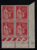 FRANCE  Coin Daté ** Type Paix 50c Rouge Yvert 283  20.4.36 Neuf Sans Charnière - Coins Datés