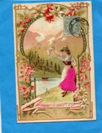 BelleCarte Gaufrée- Ornée De Fleurs--jeune Fille Agitant Son Mouchoir-en Au Revoir -a Voyagé En 1906 - Femmes