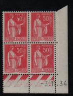 FRANCE  Coin Daté ** Type Paix 50c Rouge Yvert 283  -3.11.34 Neuf Sans Charnière - Coins Datés