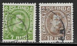 Iceland Scott # 180-1 Used Christian X, 1931, 1933 - 1918-1944 Autonoom Bestuur
