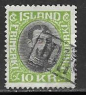 Iceland Scott # 187 Used Christian X, 1931, Tollur Cancel - Gebraucht