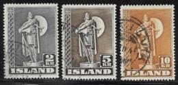 Iceland Scott # 229-31 Used Karlsefni Statue, 1939-1945 - 1918-1944 Autonoom Bestuur