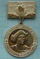 USSR / Badge / Soviet Union / RUSSIA. Christopher Columbus 500 Years Of The Discovery Of America Fleet. Santa Maria 1992 - Celebrities