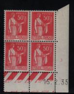 FRANCE  Coin Daté ** Type Paix 50c Rouge Yvert 283  15.2.35 Neuf Sans Charnière - Coins Datés
