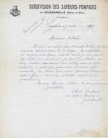 Lettre SUBDIVISION DES SAPEURS-POMPIERS De GOUSSAINVILLE (Seine Et Oise) Du 7/4/1937 - Goussainville