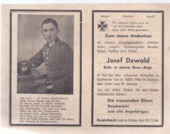 AK-div.27- 036 -   Reidelbach , Sterbebild Gefr Josef Dewald ,  21 Jahre  Gefallen 6.März 1944, Süditalien - Documents