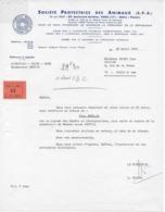 Lettre Du 22/4/1969 De La SOCIETE PROTECTRICE Des ANIMAUX (SPA) - Organisations