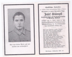 AK-div.27- 041 -Wirmling Waldzell-  Sterbebild  Grenadier Josef Stampfl  - Gef 1944 Im Alter Von 18 Jahren Im Italien - Documents