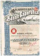 Action Ancienne - Charbonnages De Bonne Espérance - Titre De 1922 - - Miniere