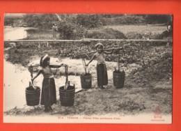 MTS-38 Tonkin Petites Filles Porteuses D'eau  . ANIME.. Non Circulé . No  34A - Vietnam