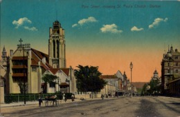 SUDAFRICA , TARJETA POSTAL NO CIRCULADA  , PINE STREET SHOWING ST. PAUL'S CHURCH - DURBAN - Sudáfrica