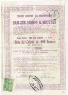 Bon De Caisse - Sté Anonyme Des Charbonnages De Ham-Sur-Sambre & Moustier - Titre De 1918 - N° 02248 - Mines