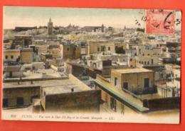 MYB-05 Tunis, Vue Vers Le Dar-El-Bey Et Grande Mosquée. Cachet Frontal. Circulé 1919 - Tunisia