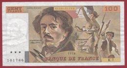 """100 Francs """"Delacroix"""" 1978---F/TTB+---ALPH.K.7 - 1962-1997 ''Francs''"""